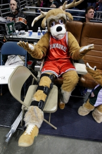 The Milwaukee Bucks mascot fakes another injury to avoid embarrassment out on the court