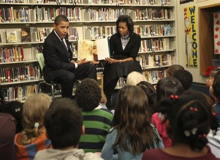 "Obama horrifies the kids with his reading of ""James and the $62 trillion in unfunded Social Security Benefits"""
