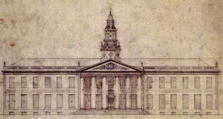 "The plans for Harvard's main office, altered slightly to remove the original ""FUCK HARVARD"" facade."